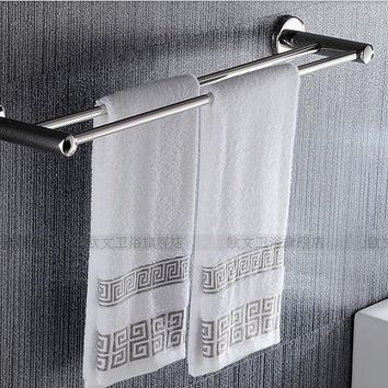 Bathroom Towel Holder Stainless Steel Rack Double Pole Bath Hanging Bathroom Accessories Double Simple Towel Bar 60cm