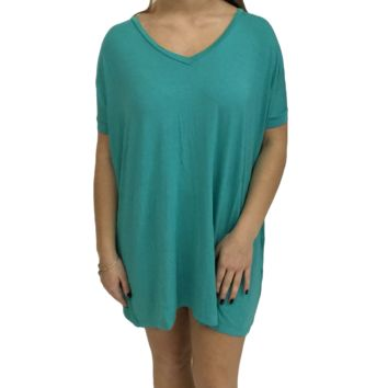Light Green Piko Tunic V-Neck Short Sleeve Top