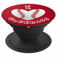 I Heart Baseball Sport PopSocket Grip - PopSockets Grip and Stand for Phones and Tablets