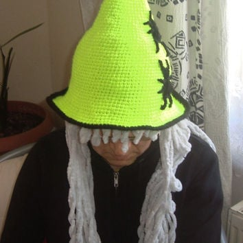 Crochet Witch Hat - Knit Hipster Hat - Witch Hipster Hat - Knit Women's Neon Yellow Witch Hat - Women's Halloween Costume Witch Hat Spider