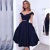 Cocktail Dresses Navy Blue Robe de Cocktail Sexy Cocktail Party Graduation Gowns Two Pieces Tea Length New 2017 Robe Cocktail