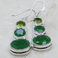 Quartz Emerald & 925 Silver Overlay Earrings 38mm May Birthstone.Gifts Under 10,20,30,Silver Emerald Earrings,UK Seller