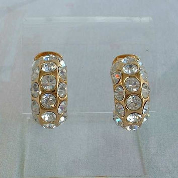 Christian DIOR Crystal Studded Earrings Clip On Huggies Signed Vintage Jewelry