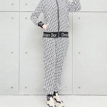 """Dior""Woman Casual Fashion Letter Pattern Print Long Sleeve Trousers Two-Piece Casual Wear"