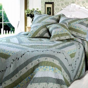 Nature Garden Evergreen Floral Forest Cottage 100% Cotton Real Patchwork Quilted Coverlet Bedspread Set - Twin - 3-Pieces (DXJ101080-1)