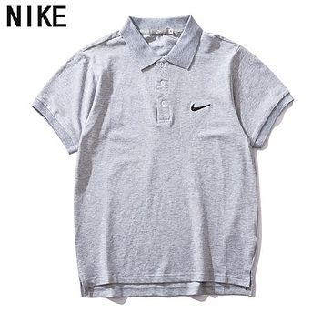 NIKE Classic Men Women Casual Embroidery Pure Cotton Lapel Shirt Top Grey