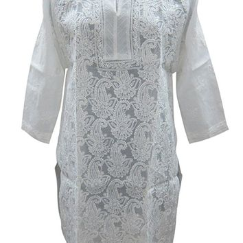 Womans Dress Boho Kurta White Tunic Floral Embroidered Cotton long Kurti S