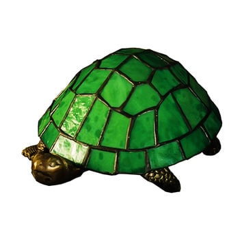"""Meyda Home Indoor Decorative Lighting Accessories 4""""""""H Turtle Tiffany Glass Accent Lamp"""