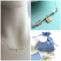 Arrow & Heart Initial Necklace