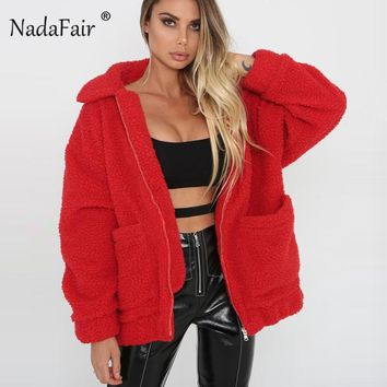Trendy Winter Jacket Nadafair plus size fleece faux shearling fur  coat women autumn winter plush warm thick teddy coat female casual overcoat AT_92_12