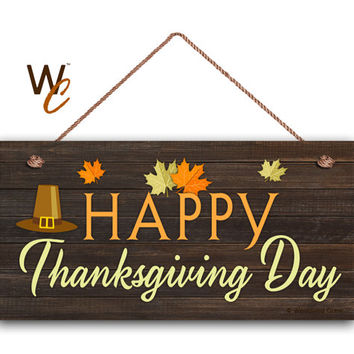 Happy Thanksgiving Day Sign Fall Season Decor Autumn Leaves Rustic
