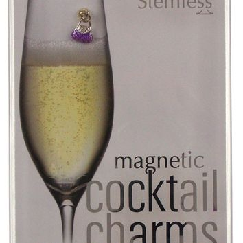Going Stemless Handbag Wine Charms Cocktail Magnetic Set 6 Drink Purse