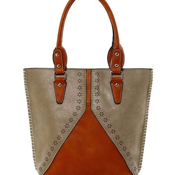 Two Tone Laser Cut Tote in Tan - Default