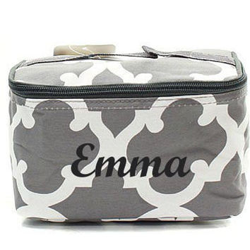 Monogrammed Cosmetic Bag  Grey Quatrefoil Cosmetic Bag  Monogrammed Makeup Bag