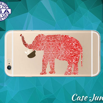 Elephant Red Henna Line Art Tumblr Animal Clear Case iPhone 5/5s iPhone 5C iPhone 6 iPhone 6 +, iPhone 6s, iPhone 6s Plus + and iPhone SE