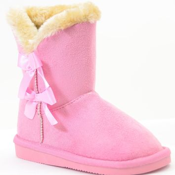 Bows Shearling Vegan Fur Suede Girls Boots Kids