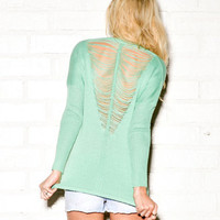 Open-Knit V-Back Sweater