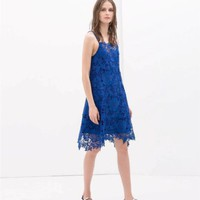 ZARA BLUE CROCHET STRAPPY PARTY SUMMER DRESS SIZE XS EXTRA SMALL 0387/023