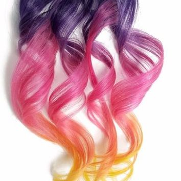 Clip in Human Hair Extensions Rainbow Ombre Dip Dye Purple Pink Orange Yellow