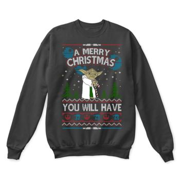 KUYOU Yoda Wish You A Merry Christmas Star Wars Ugly Sweater