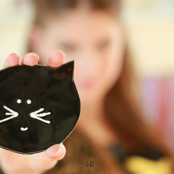 Black Cat Halloween Ceramic Plate Minimalist Kitty Pottery Dish Spoon Rest Kitchen Decoration Recycled Paper Box