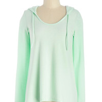 Pastel Mid-length Long Sleeve Hoodie Cookie Competition Hoodie in Mint