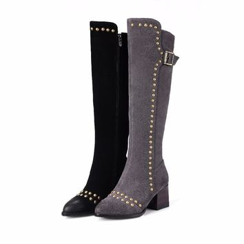 THE STRATEGY OF LOONG - Retro Genuine Leather Thick Heel Buckle and Rivets Boots*