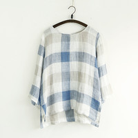 Long Sleeve Linen Plaid Shirt