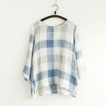 Linen Sleeve Plaid Shirt