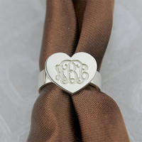 Heart Ring, Engraving monogram ring, Loves gift, personalized initial ring, sterling silver monogram ring