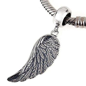 Angel Wing Charms 925 Sterling Silver Feather Pendant Dangel Christian Charm for DIY Charms Bracelet
