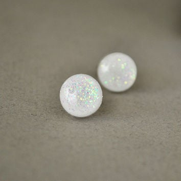 Crisp White Iridescent Glitter Stud Earrings - Hypoallergenic Surgical Stainless Steel Post Earrings - Winter Fashion