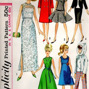 1960s Sewing Pattern Simplicity Barbie Doll Wardrobe Gown Dress Coat Pants Retro Style Clothes Midge Polly Misty 12 inch Dolly