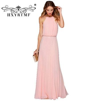 Women Bohemian Style Pleated Long Dresses Sleeveless Halter Sexy Formal Dress Fashion Clothes Female Clothing