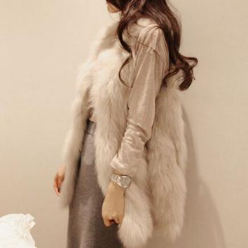 LET-SETTING hot sale faux fur vest Women  multi-color V-neck fur rabbit  new fox vest