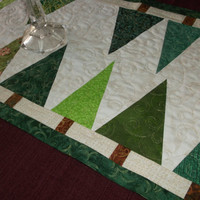 Modern Christmas Table Runner, Reversible to Fall/Autumn Table Runner, pieced, green, white, brown, rust, quilted with gold metallic thread