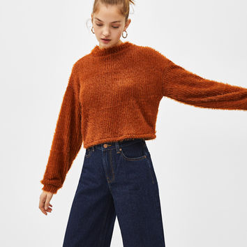 Cropped fuzzy sweater - Sweatshirts & Hoodies - Bershka United States