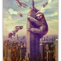 Sloth, Animal, Slothzilla, Empire State Building 16x20 Stretched Canvas Ready to Hang
