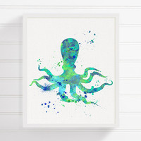 Octopus Art, Octopus Print, Octopus Painting, Watercolor Octopus, Nautical Wall Decor, Bathroom Decor, Coastal Wall Decor, Kids Room Decor