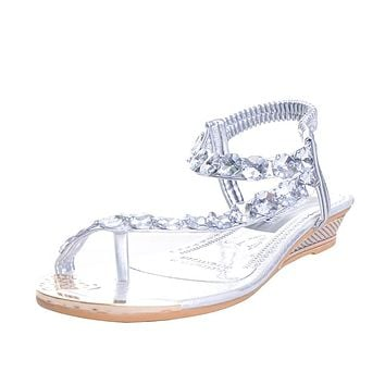 Woman Sandals Flat with Flip Flop Rhinestone Summer Style Shoes