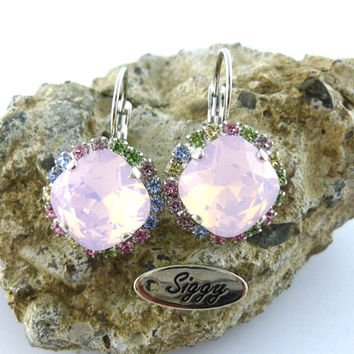 Swarovski crystal earrings, 12mm cushion cut, rose water opal and pastels, halo earrings, Spring collection, Siggy Jewelry