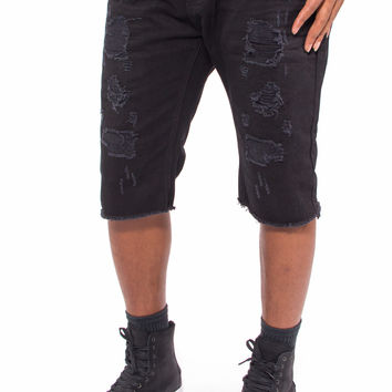Black Distressed Cut Off Slim Fit Denim Shorts