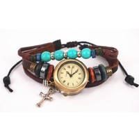 Leather Belt Watch with Helm Pendant and Wooden Beads FGA35