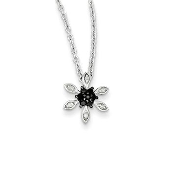 Small Black & White Diamond Flower Necklace in Sterling Silver