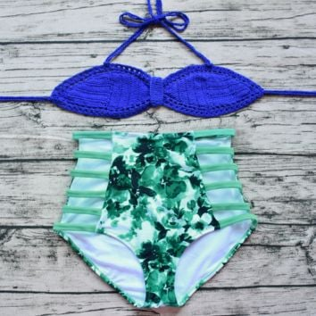 Blue Handmade Crochet  High Waist Bikini Set Beach swimsuit Bk046