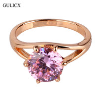 GULICX Fashion Brand Wedding Ring 18k Gold Plated Finger Ring Simple Big Pink Crystal Cubic Zirconia Band Jewelry for Women R024