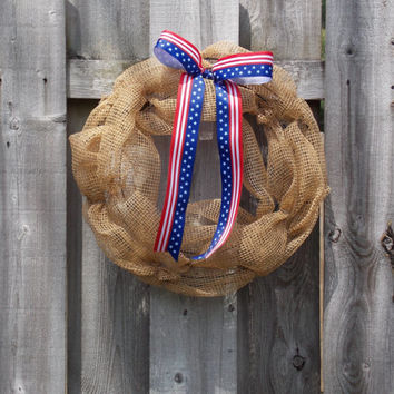 Patriotic Wreath - Deco Mesh Wreath - Summer Wreath - Red White and Blue Wreath - Memorial Day - 4th of July - American Flag