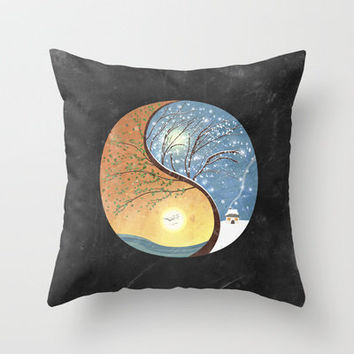 OPPOSITES LOVE - Yin-Yang Tree: Summer-Winter 2 Throw Pillow by Belle13 | Society6
