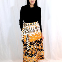 Vintage 60s Mod Black Polyester Flower Paisley Psychedelic Print Quilted Maxi Long Sleeve Hostess Dress M // L