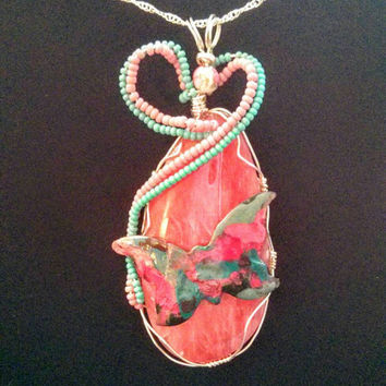 Rose Quartz Pendant, beautiful, colorful Butterfly, heart shaped seed beads to adorn this lovely, unique necklace. Hand Wire wrapped pendant
